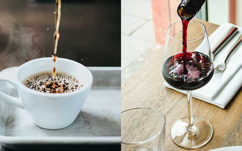 Coffee and wined being poured into a mug and wine glass, respectively