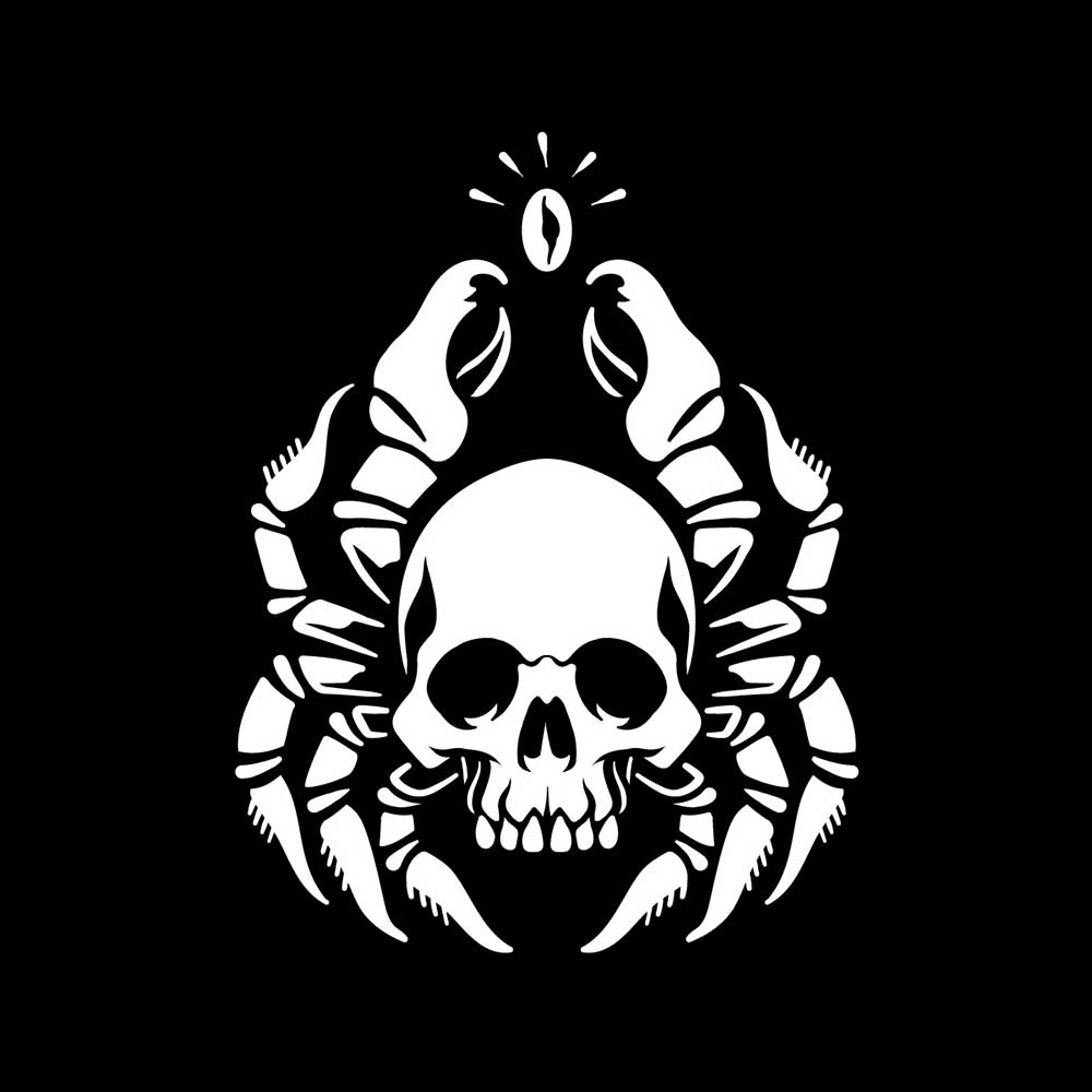 A Zodiac Cancer design featuring a skull and crab legs with a coffee bean on top.