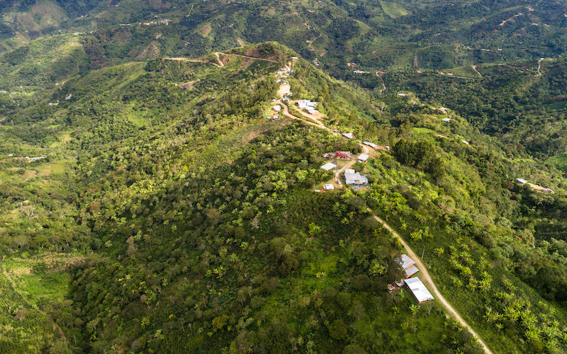 An aerial view showing homes in Pueblo Libre among lush green mountains