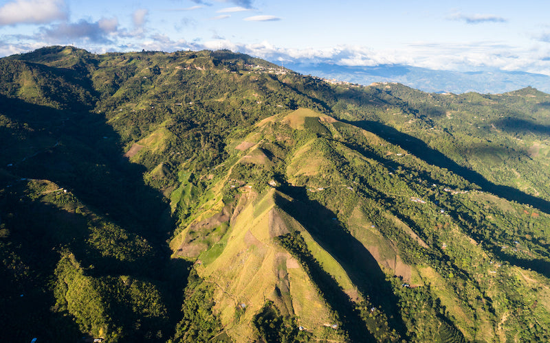 An aerial view of Pueblo Libre, a coffee producing village in Chirinos.