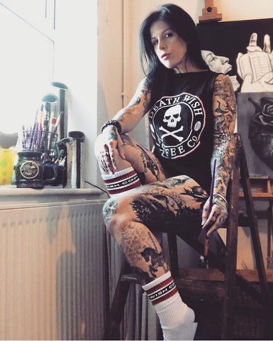 Chantale Coady wearing Death Wish apparel