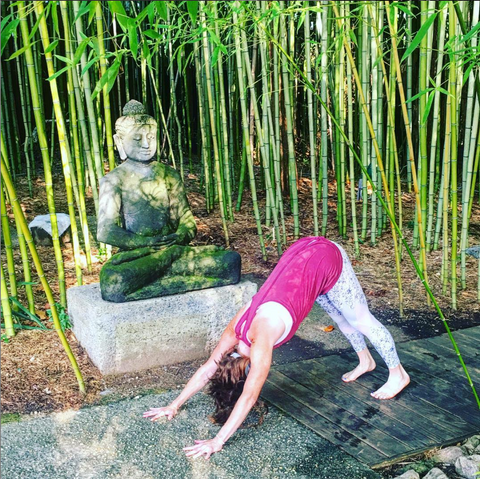 Karli Taylor doing a downward dog pose in front of a Buddha statue