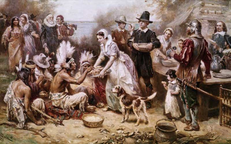 """""""The first Thanksgiving 1621"""" by J.L.G. Ferris"""