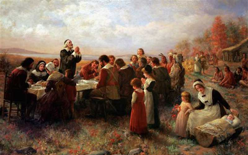 Jennie Augusta Brownscombe, Thanksgiving at Plymouth, 1925