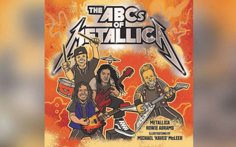 "An illustrated book cover of ""The ABCs of Metallica,"" a children's book being released by the band later in 2019"