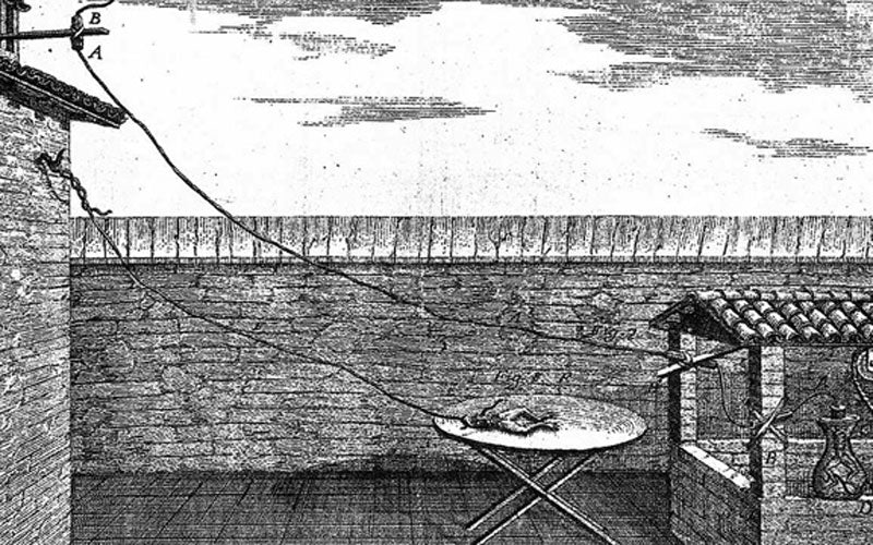 A black and white sketch of Galvani's experiment on frog legs in the 1780s