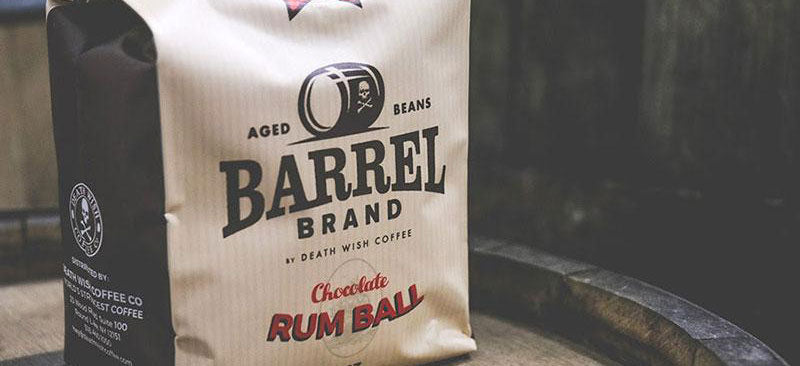 A tan bag of Death Wish Coffee Barrel brand, a coffee blend that can be used in many coffee dessert recipes