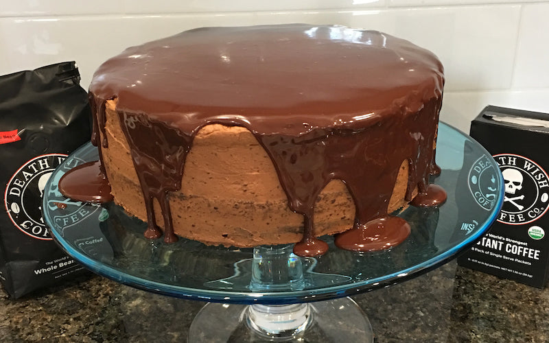 Chocolate cake made with coffee, topped with mocha icing and ganache.