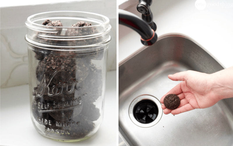 A side by side image of homemade coffee cleaning pods. On the left, a jar of pods is shown. On the right, a pod is shown above a kitchen sink.