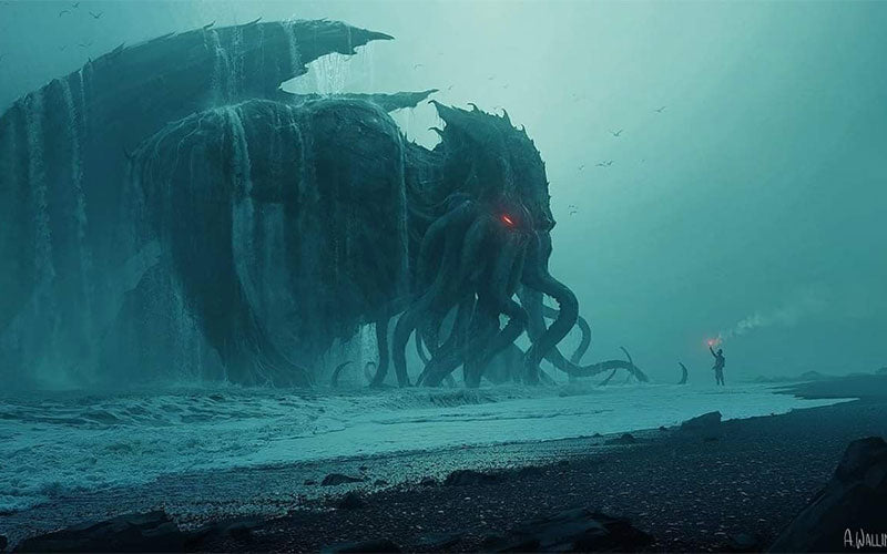 Cthulhu rising from a stormy sea