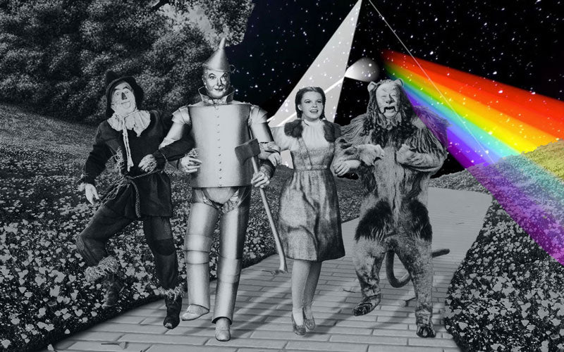A black and white photo of the Wizard of Oz Cast mashed up with a rainbow Pink Floyd logo