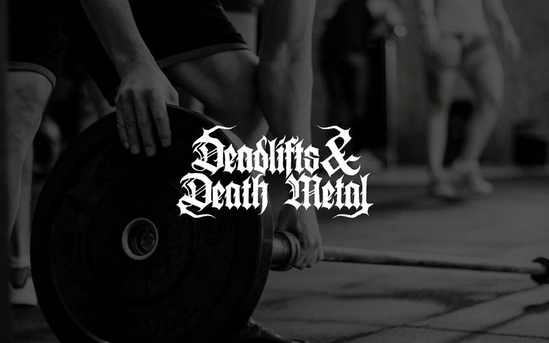 "A black and white photo of a weight with ""Deadlifts and Death Metal"" written in white font"