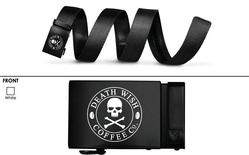 A black Death Wish Coffee belt with a skull and crossbones logo on the front