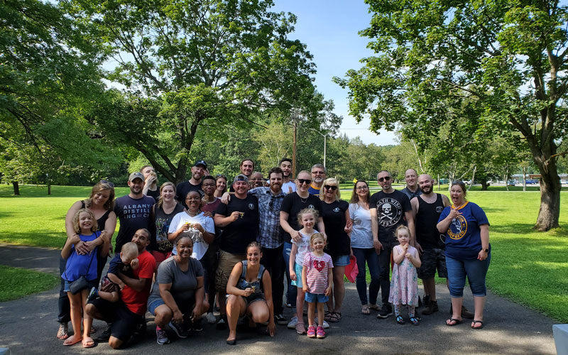 The Death Wish team stands with friends and families at the 2019 family picnic