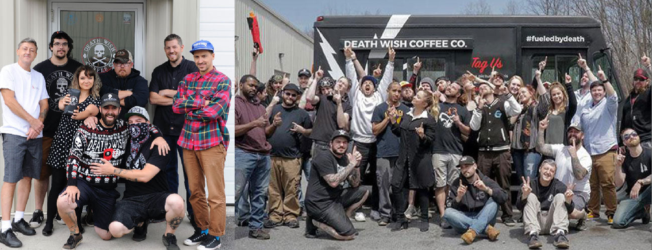 A side by side photo of the Death Wish team then and now