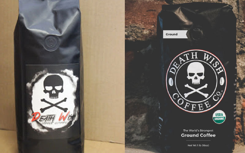 A side by side photo of Death Wish Coffee black bags from 2013 and 2019