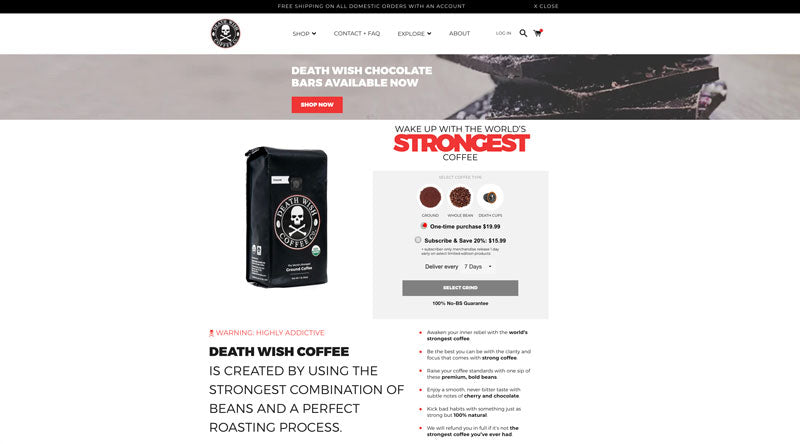 A screenshot of the current Death Wish Coffee website homepage