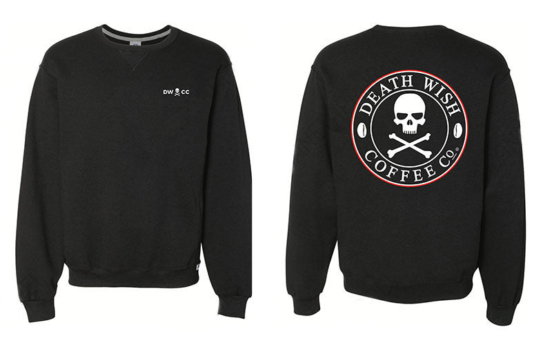 A side by side photo of the front and back of a Death Wish Coffee crewneck sweatshirt
