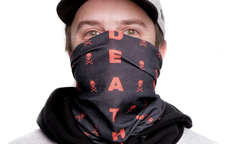 A male wearing a black and red Death Wish Coffee tubular bandana