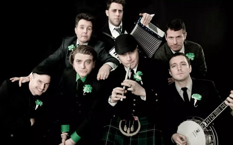 A group photo of the Dropkick Murphys, a Boston-based Celtic punk band