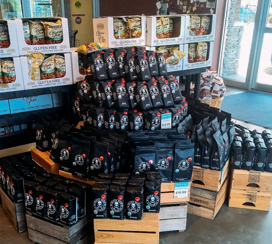 Display of Death Wish Coffee bags