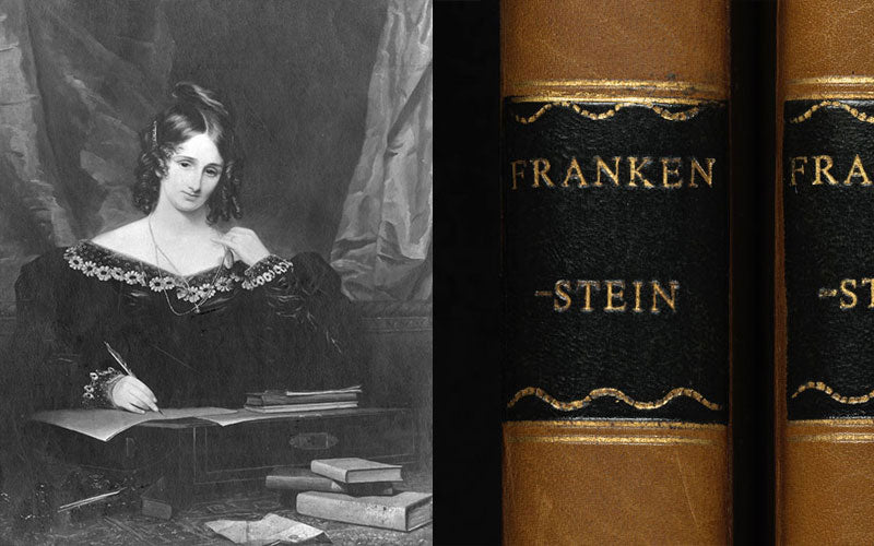 """Mary Shelley next to early editions of her """"Frankenstein"""""""