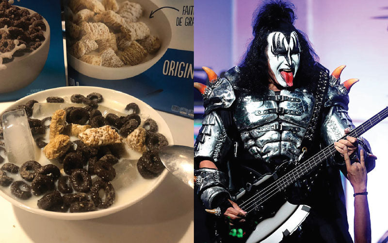 A side by side image of a bowl of cereal with ice in the milk and KISS bassist Gene Simmons on stage