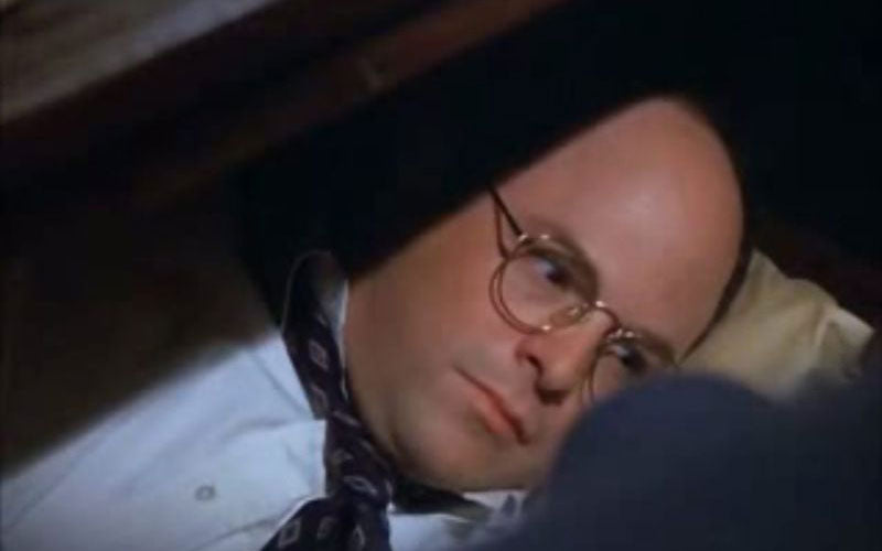 The character George Costanza in the TV sitcom Seinfeld is shown taken a nap under his desk in an episode