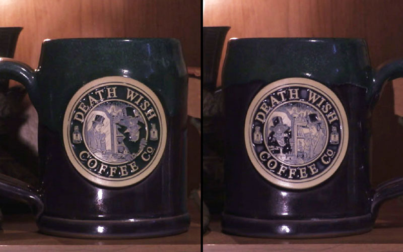 A side by side photo of a double-sided purple and green mug that shows Jekyll and Hyde