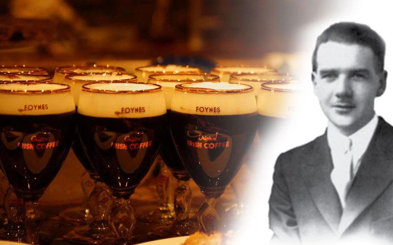 A black and white portrait of Joe Sheridan, the inventor of Irish Coffee, next to poured Irish Coffees.