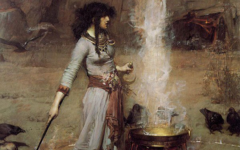 A photo of the painting Magic Circle by John William Waterhouse in 1886.