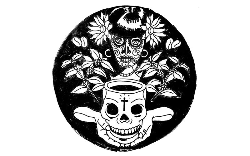 Illustration of woman holding skull coffee cup by Jorge Alderete