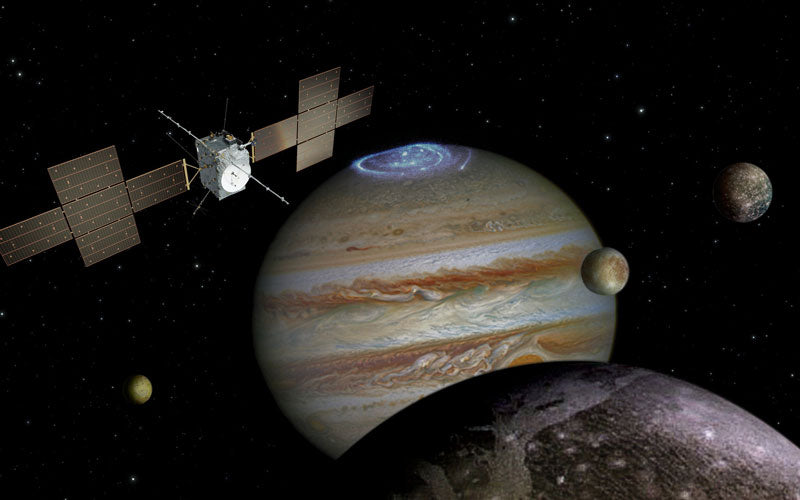 A rendering of the Jupiter Icy Moons explorer, which shows a spacecraft hovering above Jupiter