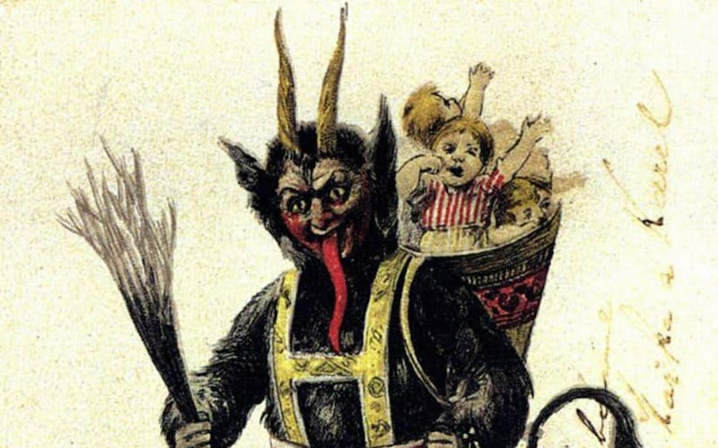 An illustration of Krampus, a half-goat, half-demon beast in Germanic Folklore, carrying two children