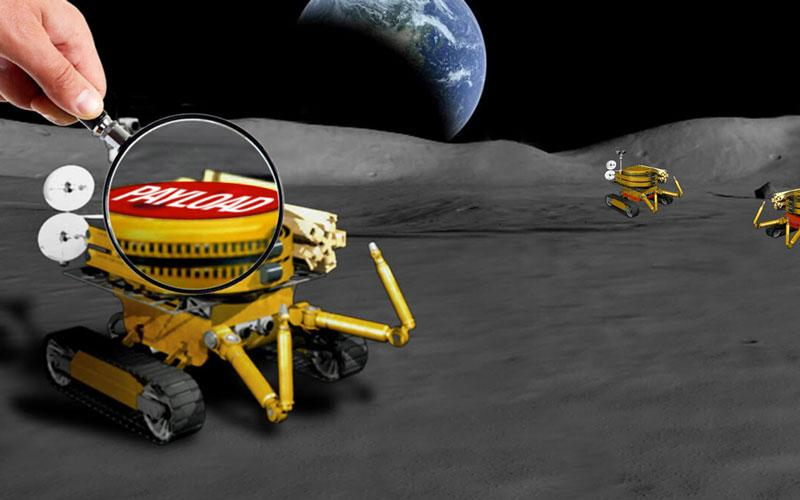 An illustration of a mini rover on the surface of the Moon