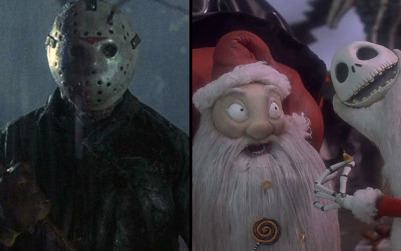 A side by side screenshot of Jason Voorhees from Friday the 13th next to Santa Claws and Jack Skellington from A Nightmare Before Christmas