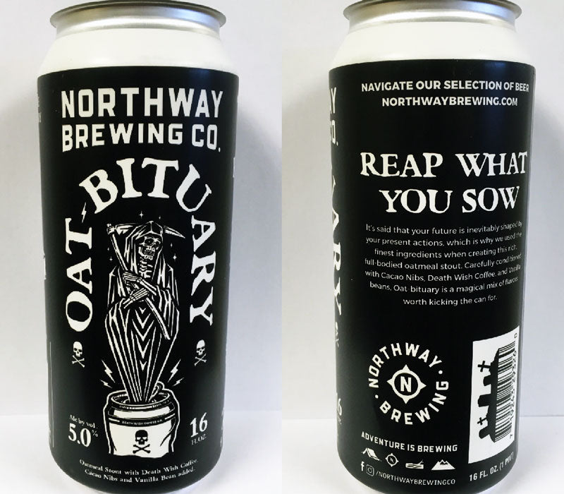 A side by side photo of the front and back of a black beer can. The beer, called Oat-bituary, is an oatmeal stout with the grim reaper shown on the front.