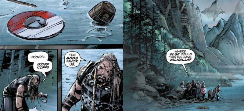 Four panels of a comic book with art depicting Vikings at the bottom of a waterfall
