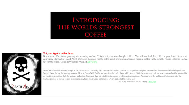 A screenshot of the old Death Wish Coffee website.