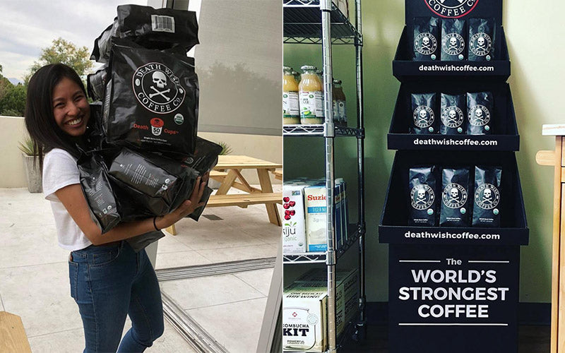 Women carrying a lot of Death Wish Coffee bags