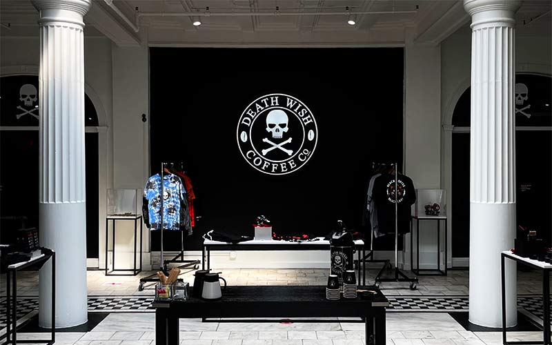 An image of the lobby at Death Wish Coffee's headquarters that serves as their retail shop.