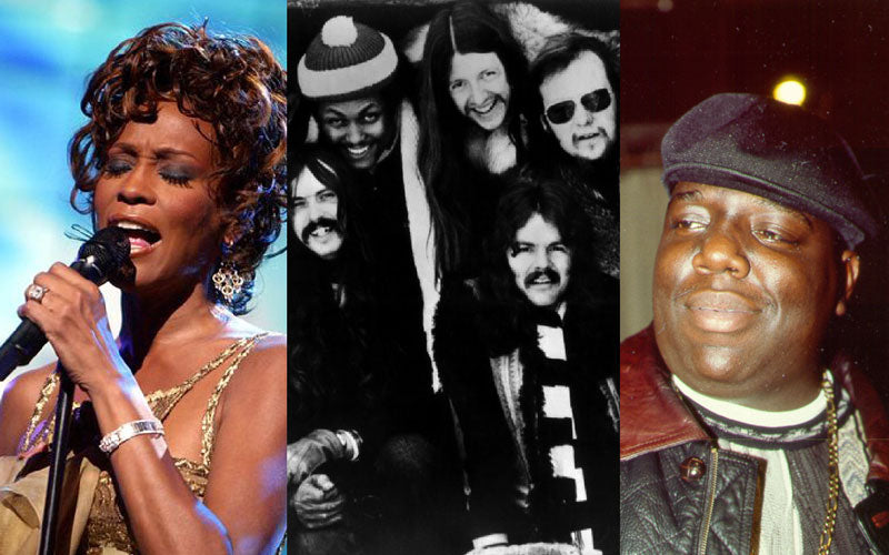 Three side-by-side photos that show from left to right: Whitney Houston, The Doobie Brothers, and Notorious B.I.G.