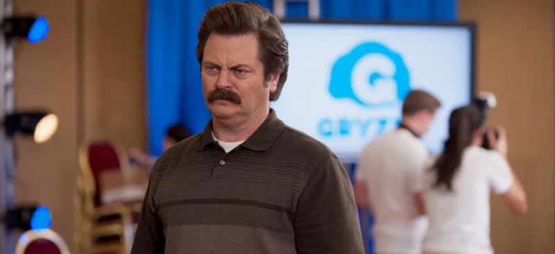 "A photo of Nick Offerman as Ron Swanson in the show ""Parks and Recreation"""