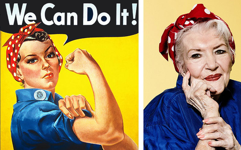A photo of the 1940s Rosie the Riveter yellow poster next to Rosalind Walter, the original Rosie the Riveter