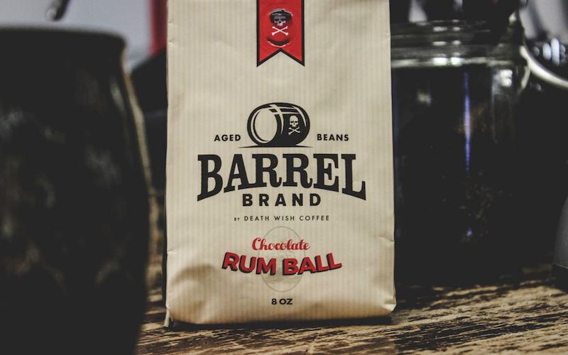 A product photo of Death Wish Coffee Co. Chocolate Rum Ball in a tan bag. This blend is made with Rum