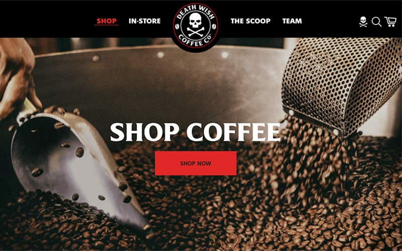 A screenshot of Death Wish Coffee website featuring the Shop Coffee page.