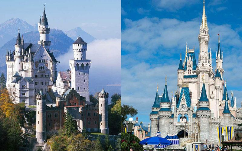 A side by side photo of Neuschwanstein Castle in Germany and Sleeping Beauty's Castle in Disneyland