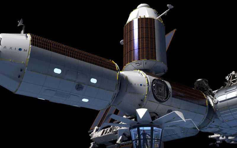 A rendering of a hotel in space that attaches to the International Space Station