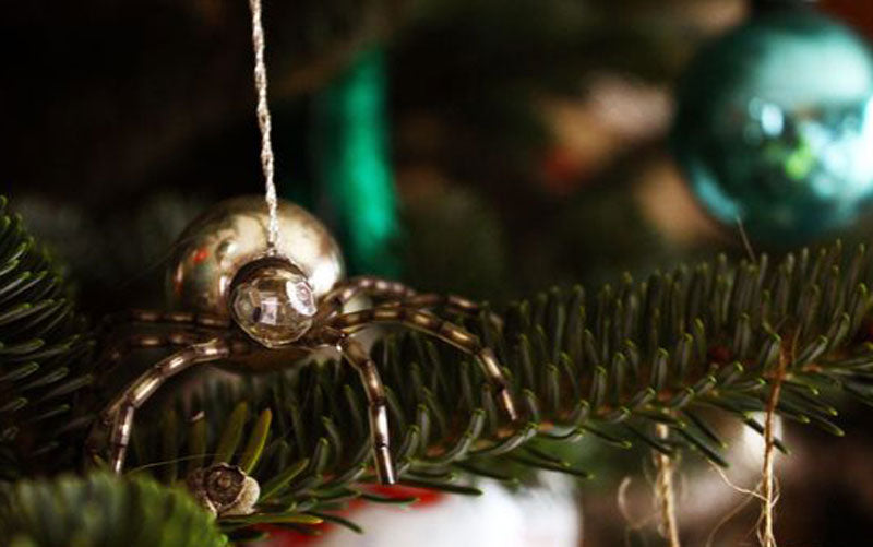 A spider ornament on a Christmas tree, which is part of a Ukrainian tradition