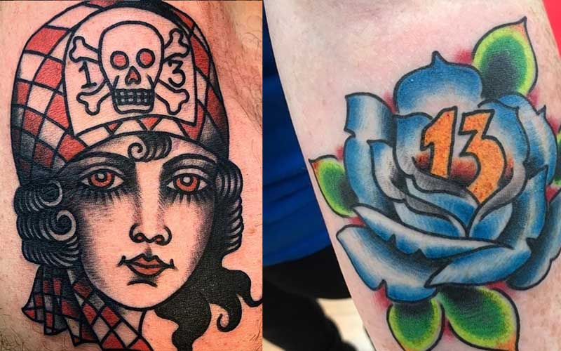 Tattoos of a woman with a hat and and a rose